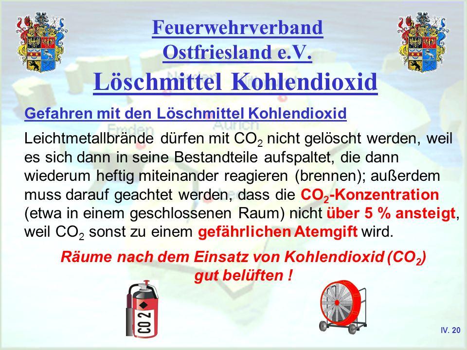 Feuerwehrverband Ostfriesland e.V. Löschmittel Kohlendioxid Gefahren mit den Löschmittel Kohlendioxid Leichtmetallbrände dürfen mit CO 2 nicht gelösch