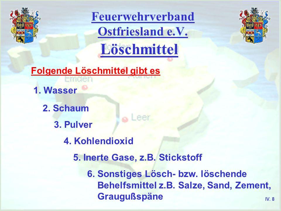 Feuerwehrverband Ostfriesland e.V. Löschmittel Folgende Löschmittel gibt es 1. Wasser 2. Schaum 3. Pulver 4. Kohlendioxid 5. Inerte Gase, z.B. Stickst