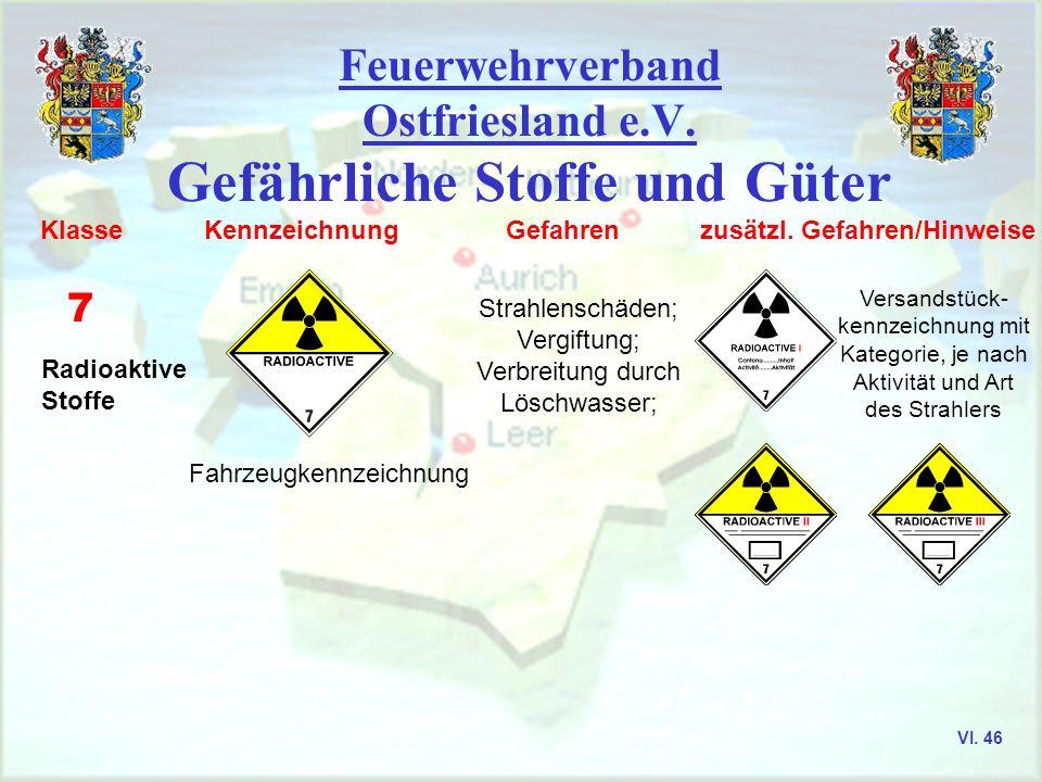 Feuerwehrverband Ostfriesland e.V. Gefährliche Stoffe und Güter Klasse Kennzeichnung Gefahren zusätzl. Gefahren/Hinweise 5.1 Entzündende (oxidierende)