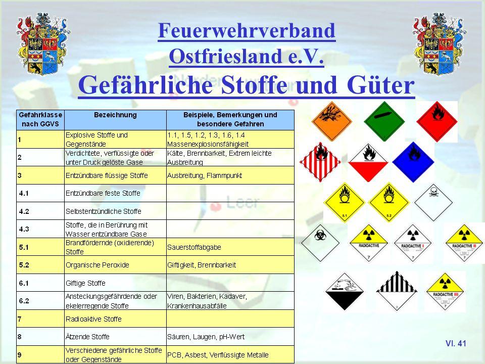 Feuerwehrverband Ostfriesland e.V. Gefährliche Stoffe und Güter Die GefStoffV regelt den Umgang mit gefährlichen Stoffen. Gefährliche Stoffe in diesem