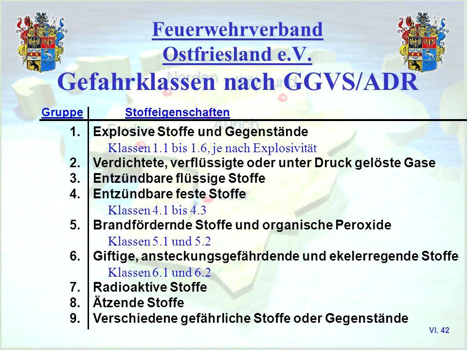 Feuerwehrverband Ostfriesland e.V. Gefährliche Stoffe und Güter VI. 41