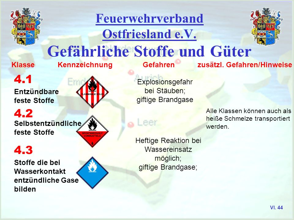 Feuerwehrverband Ostfriesland e.V. Gefährliche Stoffe und Güter Klasse Kennzeichnung Gefahren zusätzl. Gefahren/Hinweise 1 1.1 bis 1.3 1.4 bis 1.6 Exp