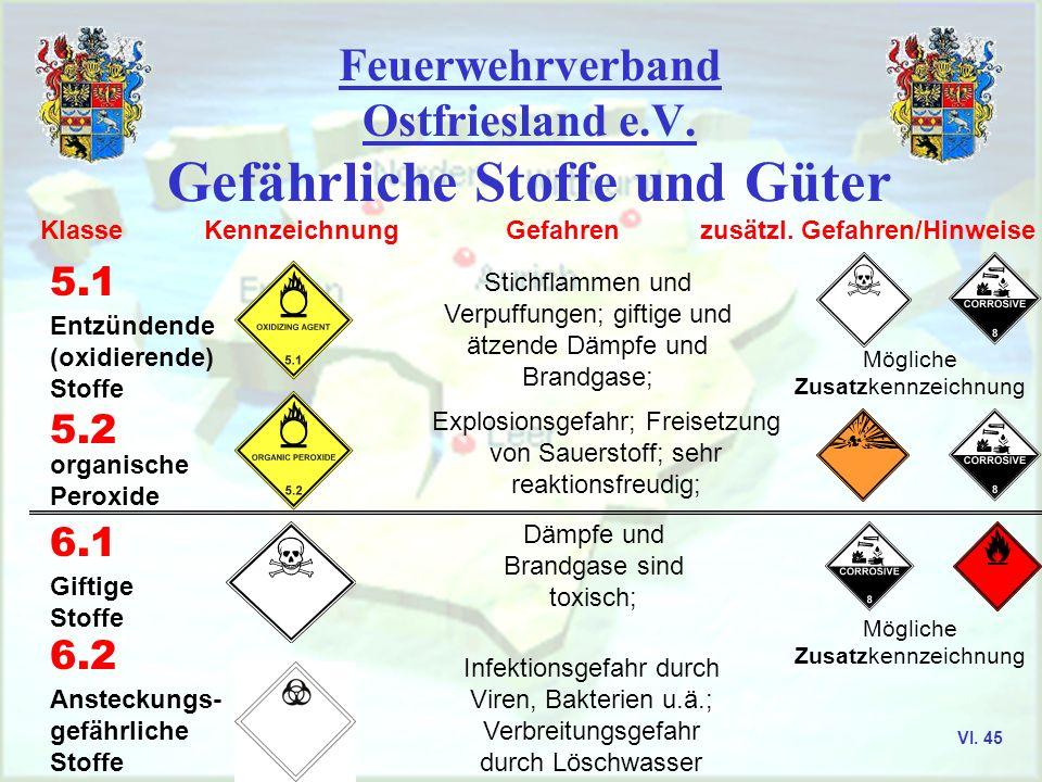 Feuerwehrverband Ostfriesland e.V. Gefährliche Stoffe und Güter Klasse Kennzeichnung Gefahren zusätzl. Gefahren/Hinweise 4.1 Entzündbare feste Stoffe
