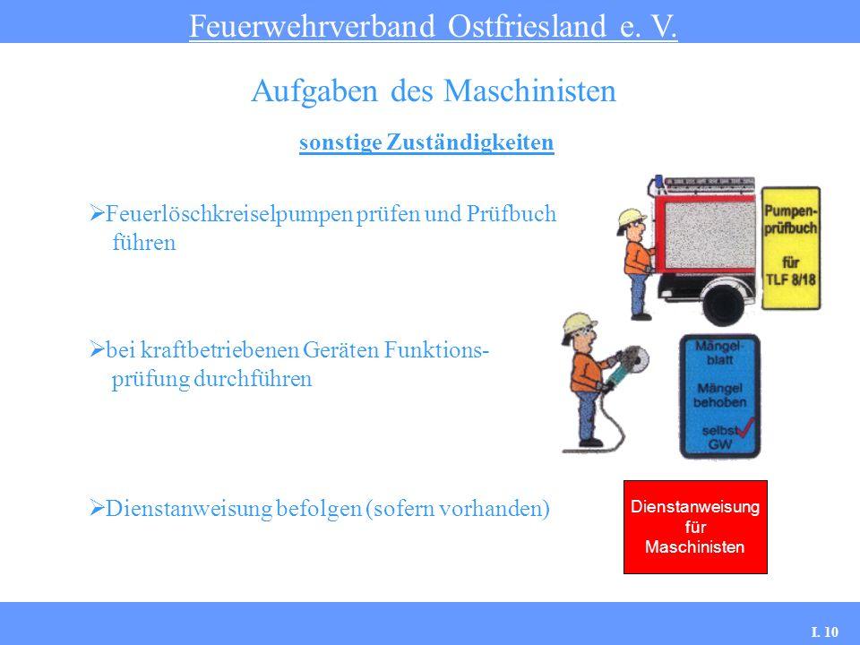 sonstige Zuständigkeiten Feuerwehrverband Ostfriesland e. V. Aufgaben des Maschinisten Feuerlöschkreiselpumpen prüfen und Prüfbuch führen bei kraftbet