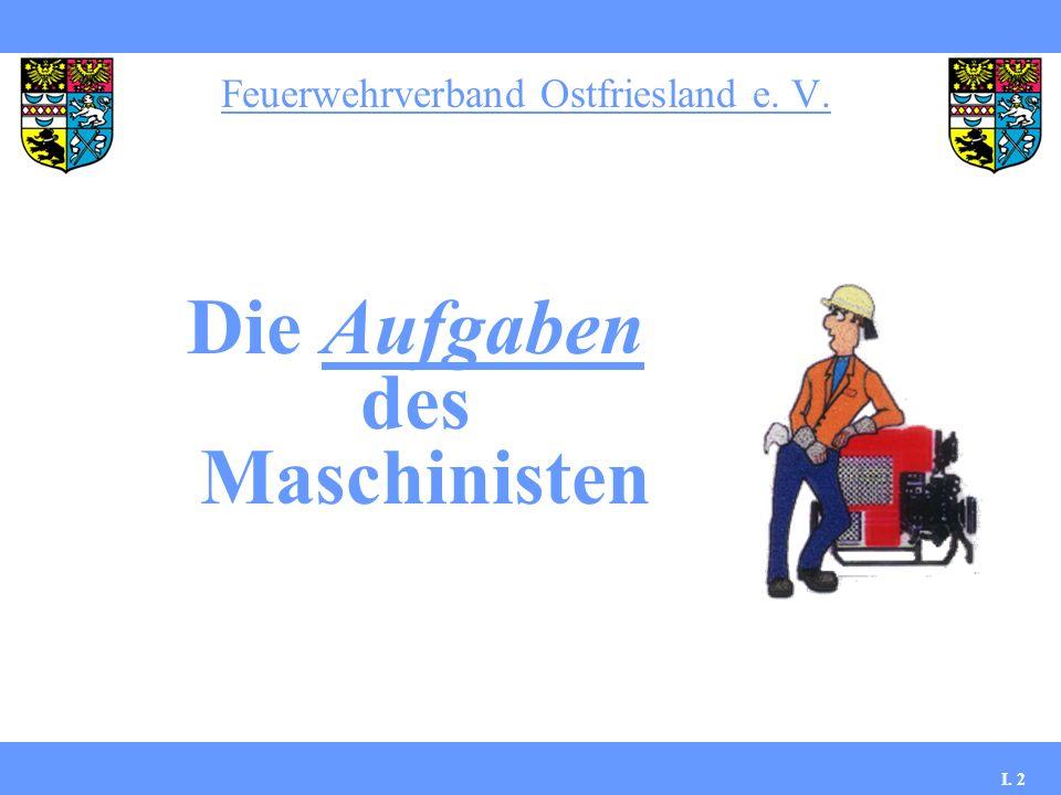 Feuerwehrverband Ostfriesland e. V. I. 2 Die Aufgaben des Maschinisten