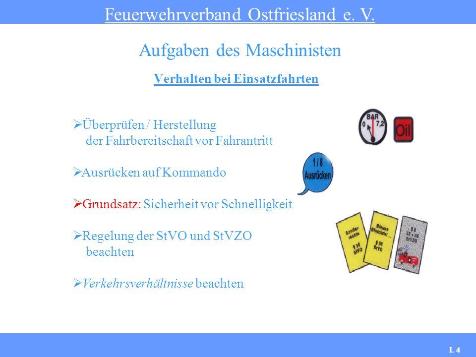 Verhalten bei Einsatzfahrten Feuerwehrverband Ostfriesland e. V. Aufgaben des Maschinisten Überprüfen / Herstellung der Fahrbereitschaft vor Fahrantri