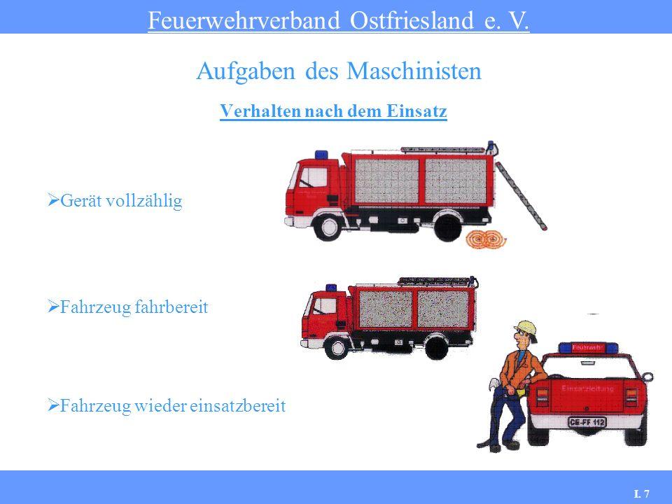 Verhalten nach dem Einsatz Feuerwehrverband Ostfriesland e. V. Aufgaben des Maschinisten Gerät vollzählig Fahrzeug fahrbereit Fahrzeug wieder einsatzb
