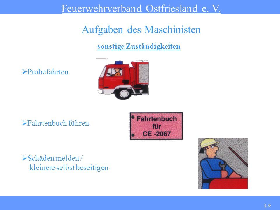 sonstige Zuständigkeiten Feuerwehrverband Ostfriesland e. V. Aufgaben des Maschinisten Probefahrten Fahrtenbuch führen Schäden melden / kleinere selbs