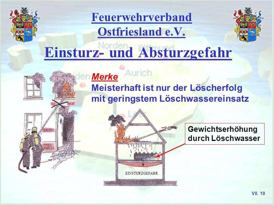 Feuerwehrverband Ostfriesland e.V. Einsturz- und Absturzgefahr Merke Meisterhaft ist nur der Löscherfolg mit geringstem Löschwassereinsatz Gewichtserh