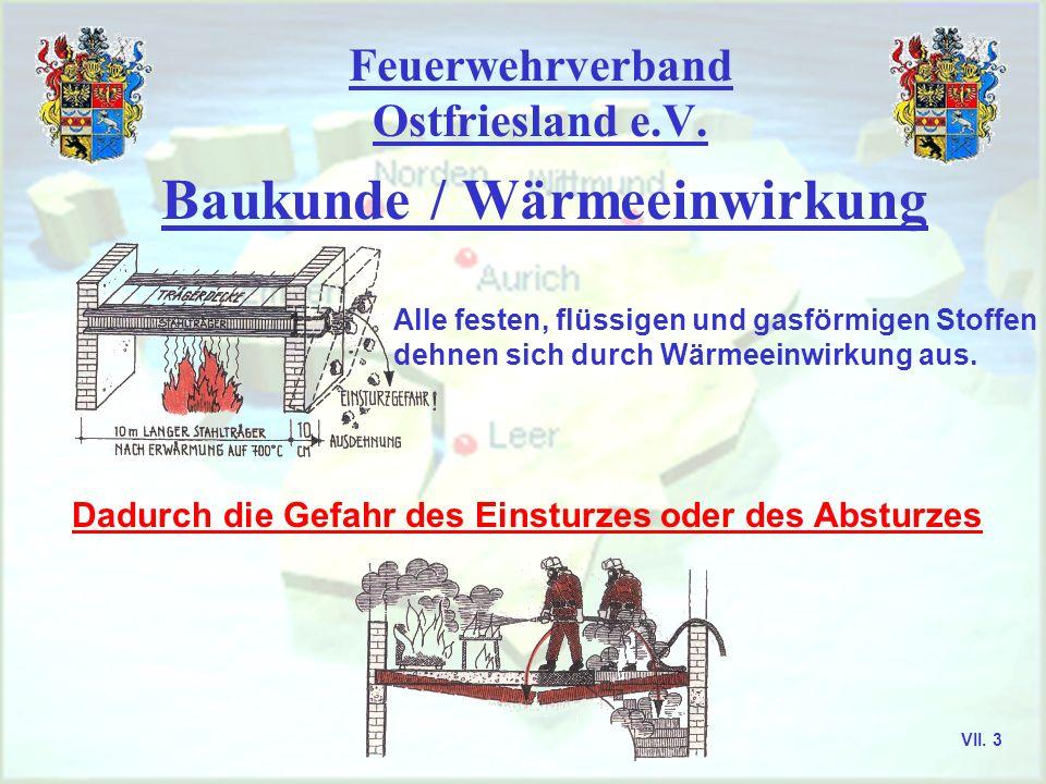 Feuerwehrverband Ostfriesland e.V. Baukunde / Wärmeeinwirkung Alle festen, flüssigen und gasförmigen Stoffen dehnen sich durch Wärmeeinwirkung aus. Da