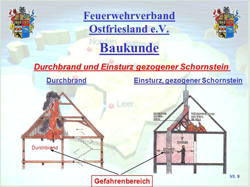 Feuerwehrverband Ostfriesland e.V. Baukunde Durchbrand und Einsturz gezogener Schornstein Gefahrenbereich Durchbrand Einsturz, gezogener SchornsteinDu