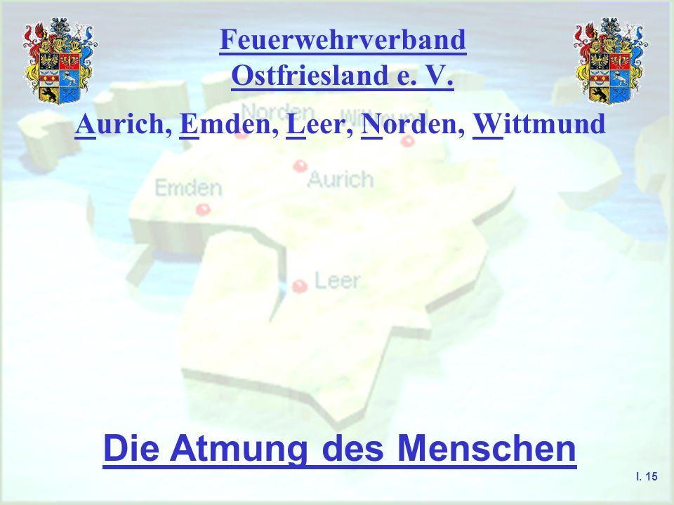 Feuerwehrverband Ostfriesland e. V. Aurich, Emden, Leer, Norden, Wittmund Die Atmung des Menschen I. 15