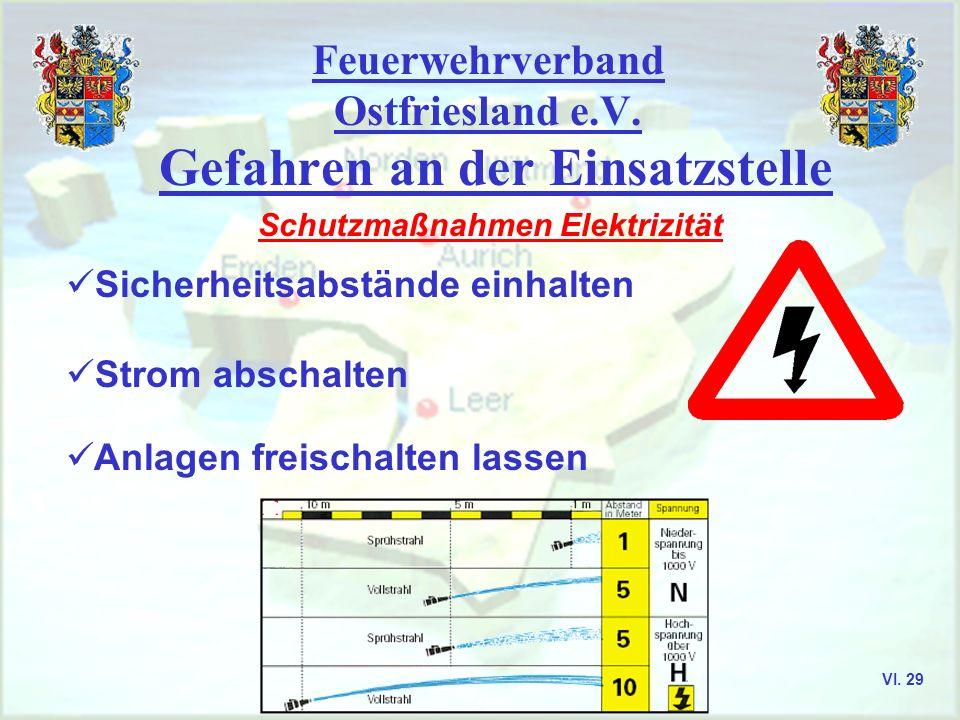 Feuerwehrverband Ostfriesland e.V. Gefahren an der Einsatzstelle Schutzmaßnahmen Elektrizität Sicherheitsabstände einhalten Strom abschalten Anlagen f