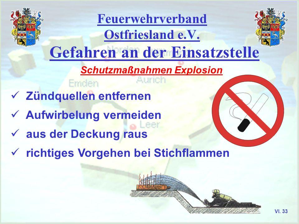 Feuerwehrverband Ostfriesland e.V. Gefahren an der Einsatzstelle Schutzmaßnahmen Explosion Zündquellen entfernen Aufwirbelung vermeiden aus der Deckun