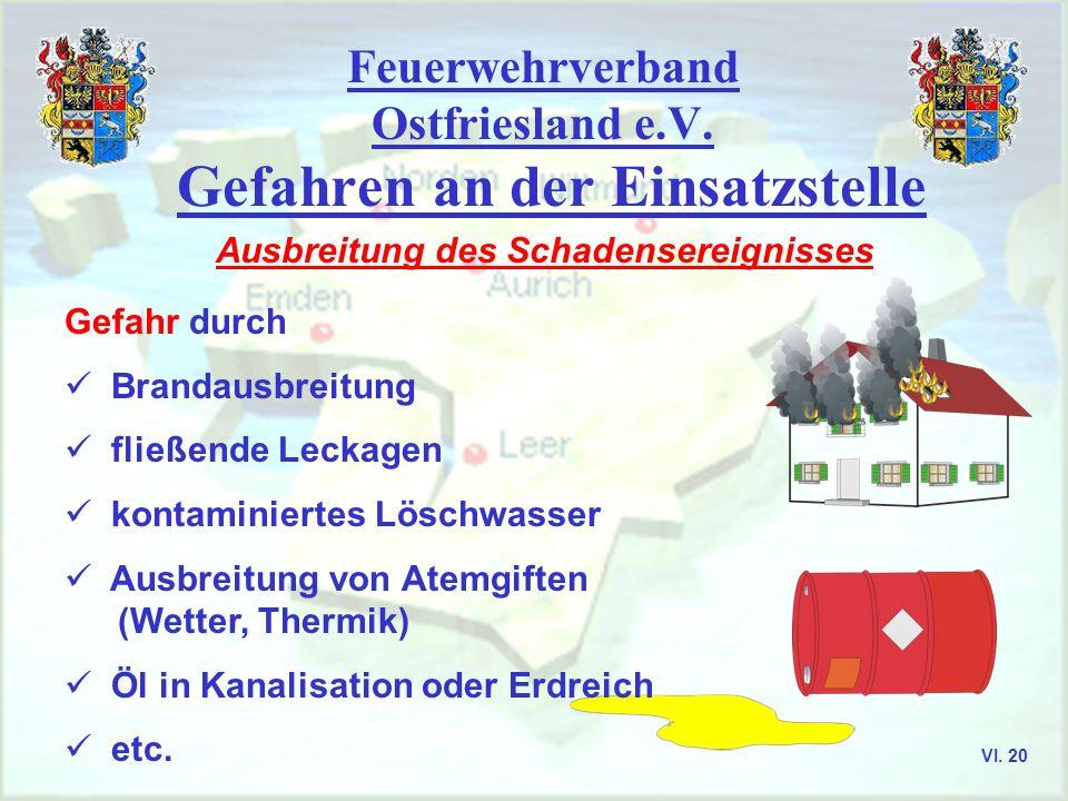 Feuerwehrverband Ostfriesland e.V. Gefahren an der Einsatzstelle Ausbreitung des Schadensereignisses Gefahr durch Brandausbreitung fließende Leckagen