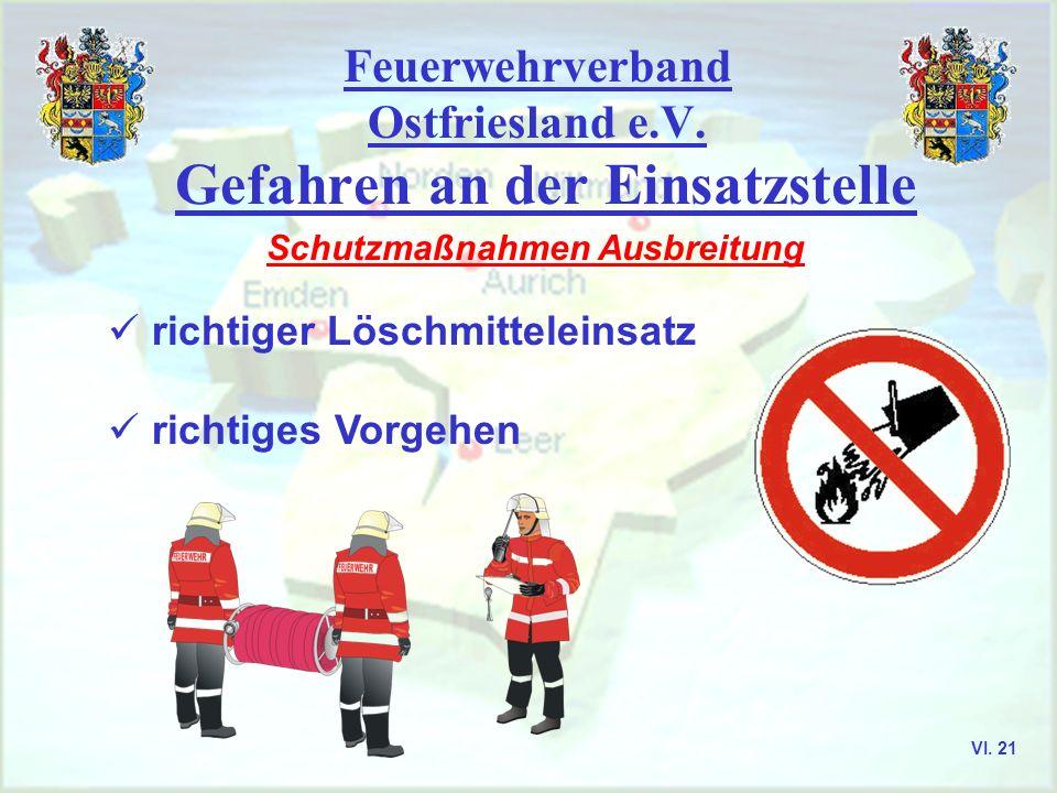Feuerwehrverband Ostfriesland e.V. Gefahren an der Einsatzstelle Schutzmaßnahmen Ausbreitung richtiger Löschmitteleinsatz richtiges Vorgehen VI. 21