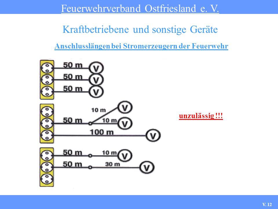 Anschlusslängen bei Stromerzeugern der Feuerwehr Feuerwehrverband Ostfriesland e. V. Kraftbetriebene und sonstige Geräte unzulässig !!! V. 12