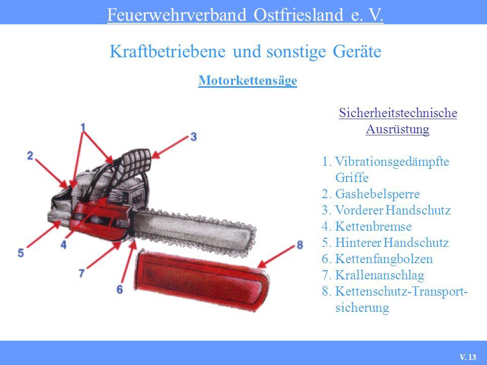 Motorkettensäge Feuerwehrverband Ostfriesland e. V. Kraftbetriebene und sonstige Geräte Sicherheitstechnische Ausrüstung 1. Vibrationsgedämpfte Griffe