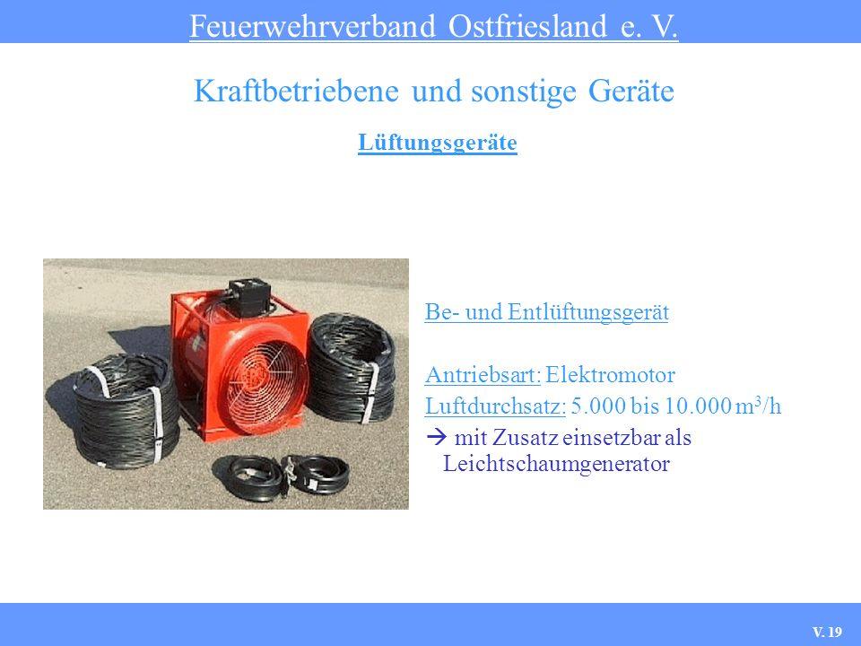 Lüftungsgeräte Feuerwehrverband Ostfriesland e. V. Kraftbetriebene und sonstige Geräte Be- und Entlüftungsgerät Antriebsart: Elektromotor Luftdurchsat