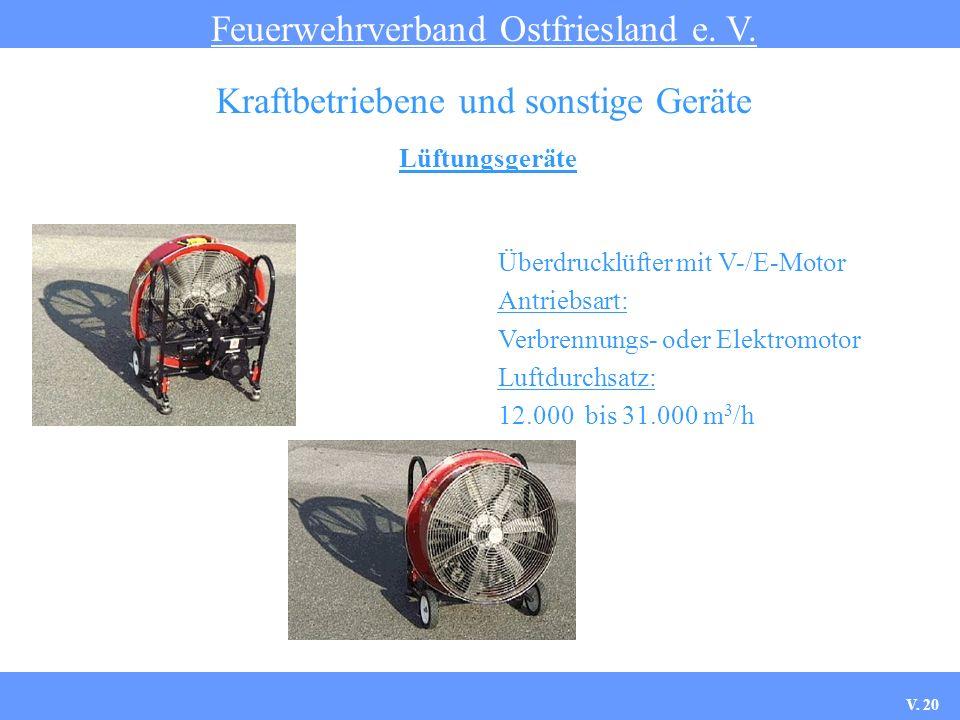 Lüftungsgeräte Feuerwehrverband Ostfriesland e. V. Kraftbetriebene und sonstige Geräte Überdrucklüfter mit V-/E-Motor Antriebsart: Verbrennungs- oder