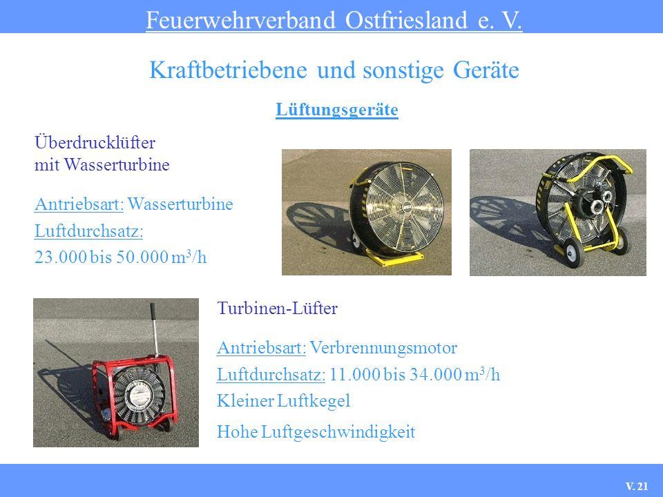 Lüftungsgeräte Feuerwehrverband Ostfriesland e. V. Kraftbetriebene und sonstige Geräte Turbinen-Lüfter Antriebsart: Verbrennungsmotor Luftdurchsatz: 1