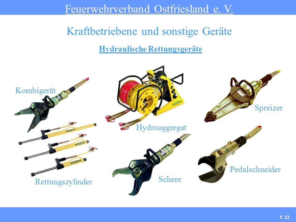 Hydraulische Rettungsgeräte Feuerwehrverband Ostfriesland e. V. Kraftbetriebene und sonstige Geräte Kombigerät Hydroaggregat Spreizer Rettungszylinder