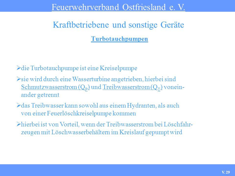 Turbotauchpumpen Feuerwehrverband Ostfriesland e. V. Kraftbetriebene und sonstige Geräte die Turbotauchpumpe ist eine Kreiselpumpe sie wird durch eine