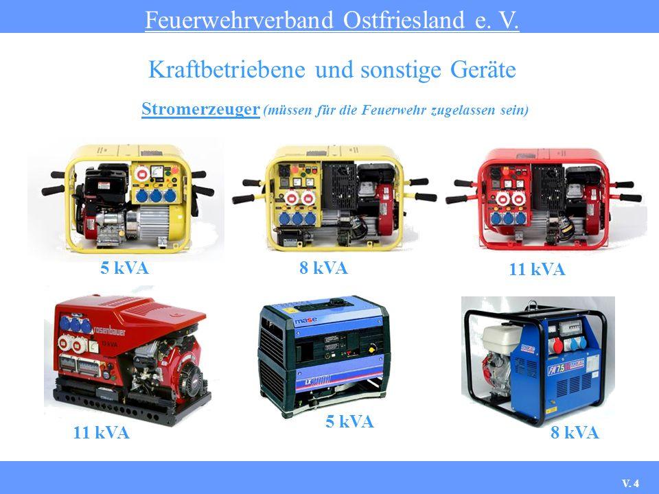Stromerzeuger (müssen für die Feuerwehr zugelassen sein) Feuerwehrverband Ostfriesland e. V. Kraftbetriebene und sonstige Geräte 5 kVA8 kVA 11 kVA 5 k
