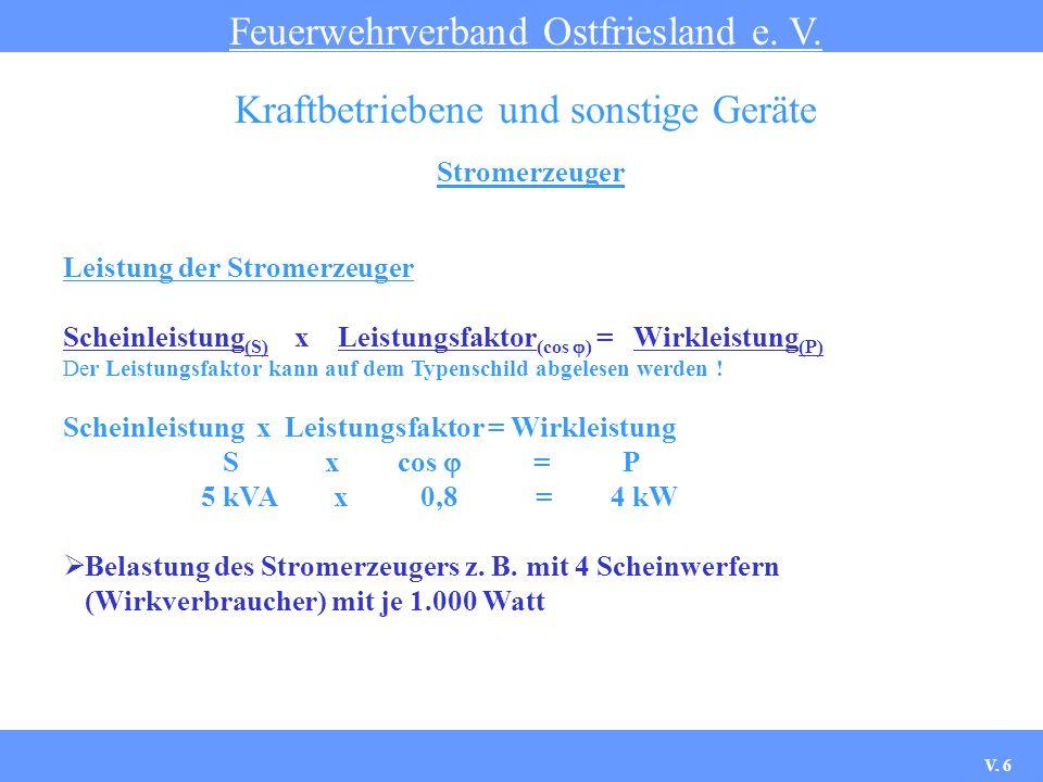 Stromerzeuger Feuerwehrverband Ostfriesland e. V. Kraftbetriebene und sonstige Geräte Leistung der Stromerzeuger Scheinleistung (S) x Leistungsfaktor