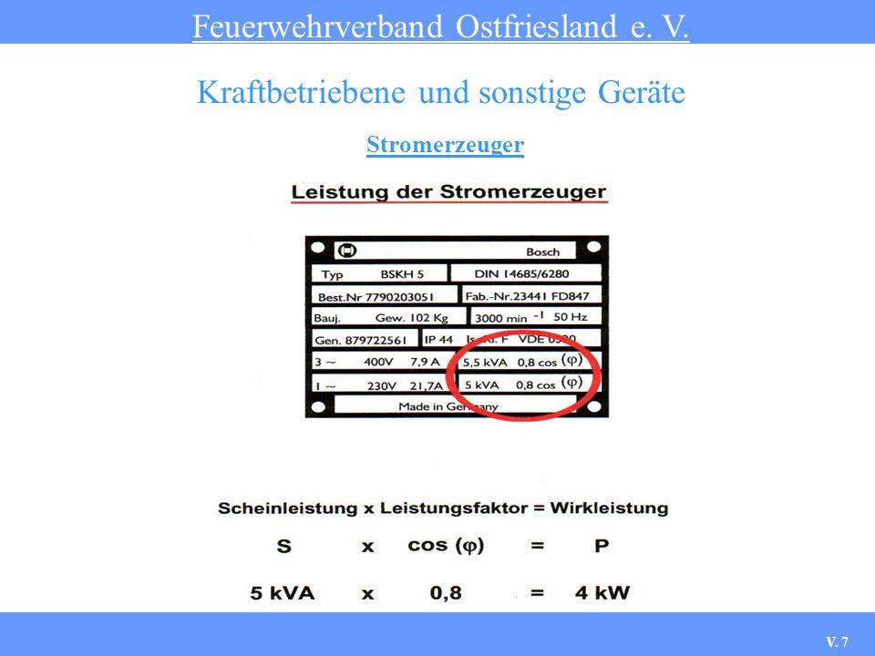 Stromerzeuger Feuerwehrverband Ostfriesland e.V. Kraftbetriebene und sonstige Geräte 1.