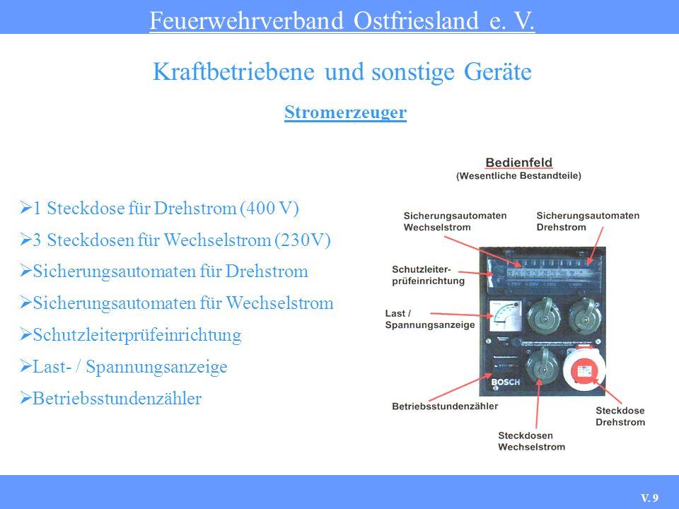 Stromerzeuger Feuerwehrverband Ostfriesland e. V. Kraftbetriebene und sonstige Geräte 1 Steckdose für Drehstrom (400 V) 3 Steckdosen für Wechselstrom