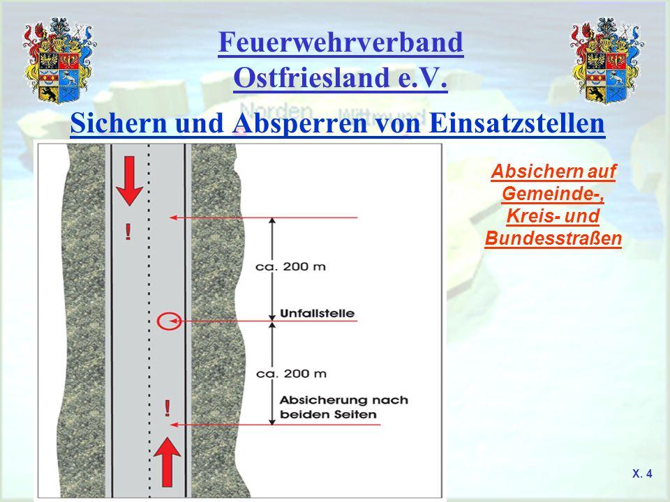 Feuerwehrverband Ostfriesland e.V. Sichern und Absperren von Einsatzstellen Absichern auf Gemeinde-, Kreis- und Bundesstraßen X. 4