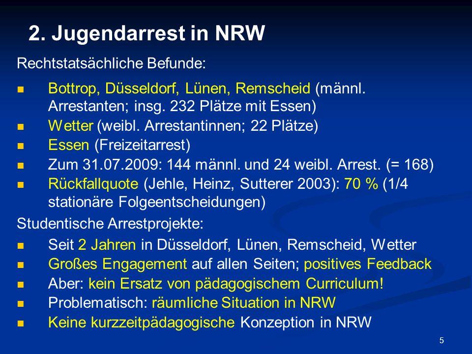 5 2. Jugendarrest in NRW Rechtstatsächliche Befunde: Bottrop, Düsseldorf, Lünen, Remscheid (männl. Arrestanten; insg. 232 Plätze mit Essen) Wetter (we