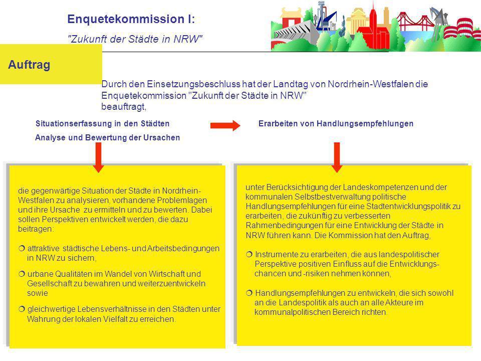 die gegenwärtige Situation der Städte in Nordrhein- Westfalen zu analysieren, vorhandene Problemlagen und ihre Ursache zu ermitteln und zu bewerten.