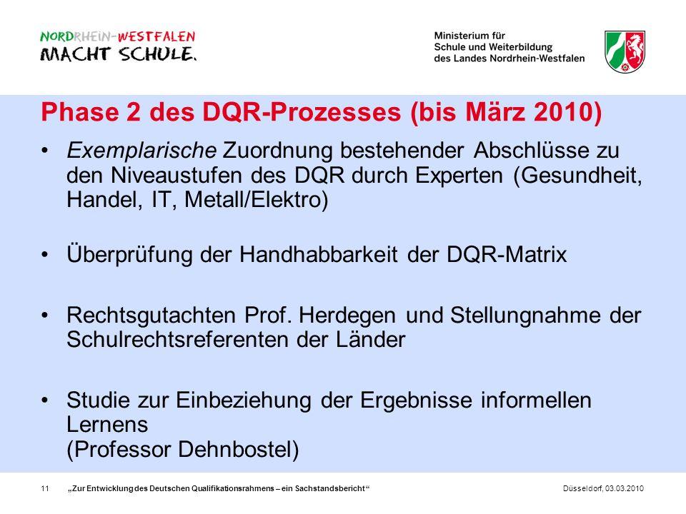 Zur Entwicklung des Deutschen Qualifikationsrahmens – ein Sachstandsbericht 11Düsseldorf, 03.03.2010 Phase 2 des DQR-Prozesses (bis März 2010) Exempla