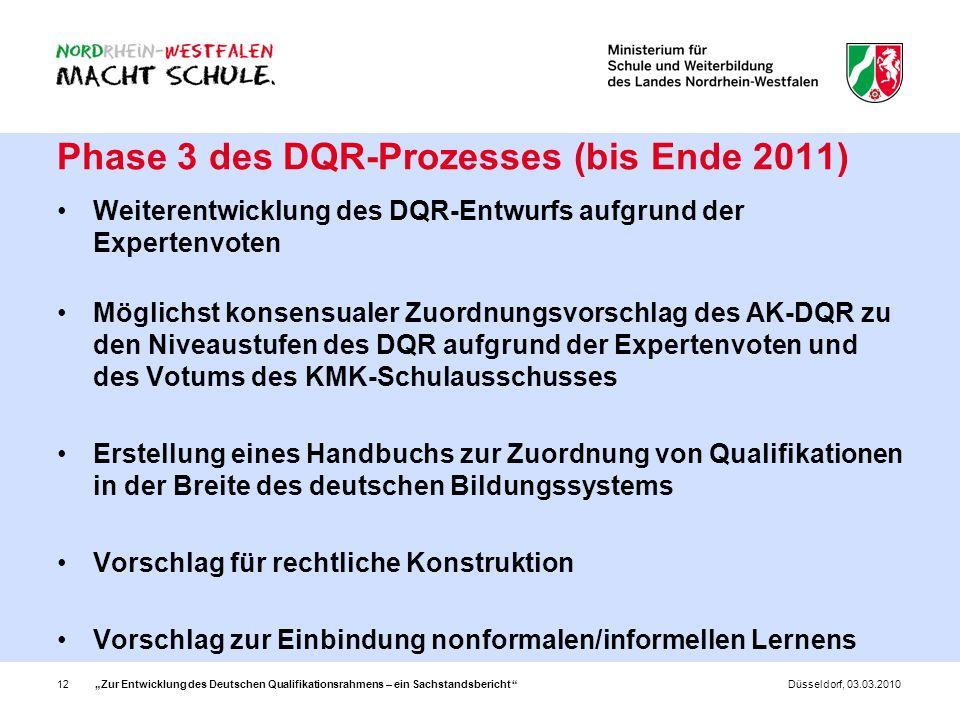 Zur Entwicklung des Deutschen Qualifikationsrahmens – ein Sachstandsbericht 12Düsseldorf, 03.03.2010 Phase 3 des DQR-Prozesses (bis Ende 2011) Weitere