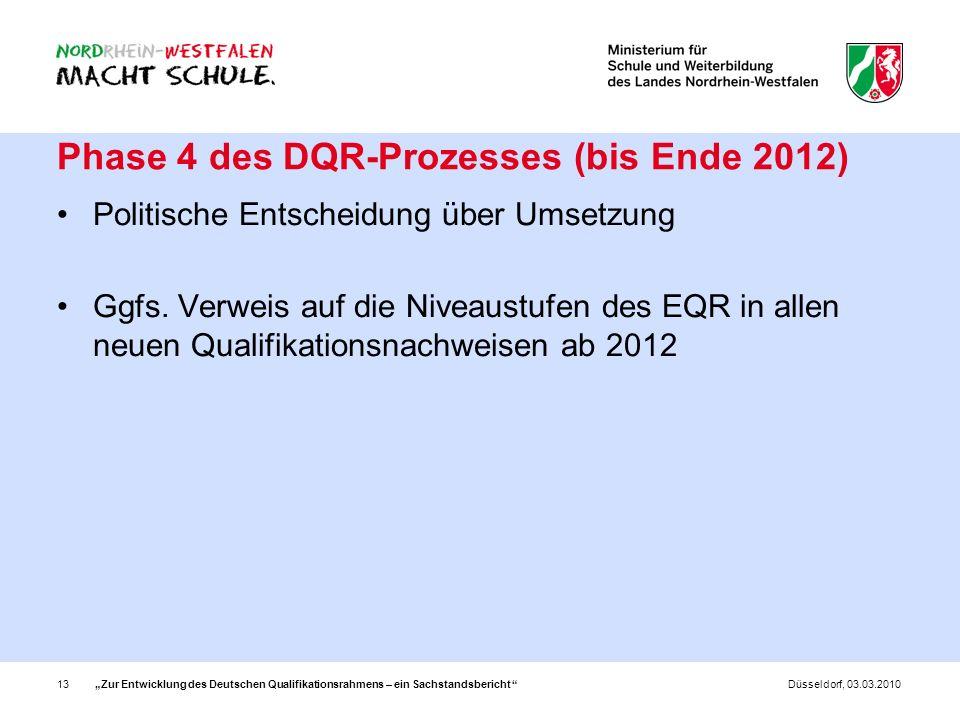 Zur Entwicklung des Deutschen Qualifikationsrahmens – ein Sachstandsbericht 13Düsseldorf, 03.03.2010 Phase 4 des DQR-Prozesses (bis Ende 2012) Politis