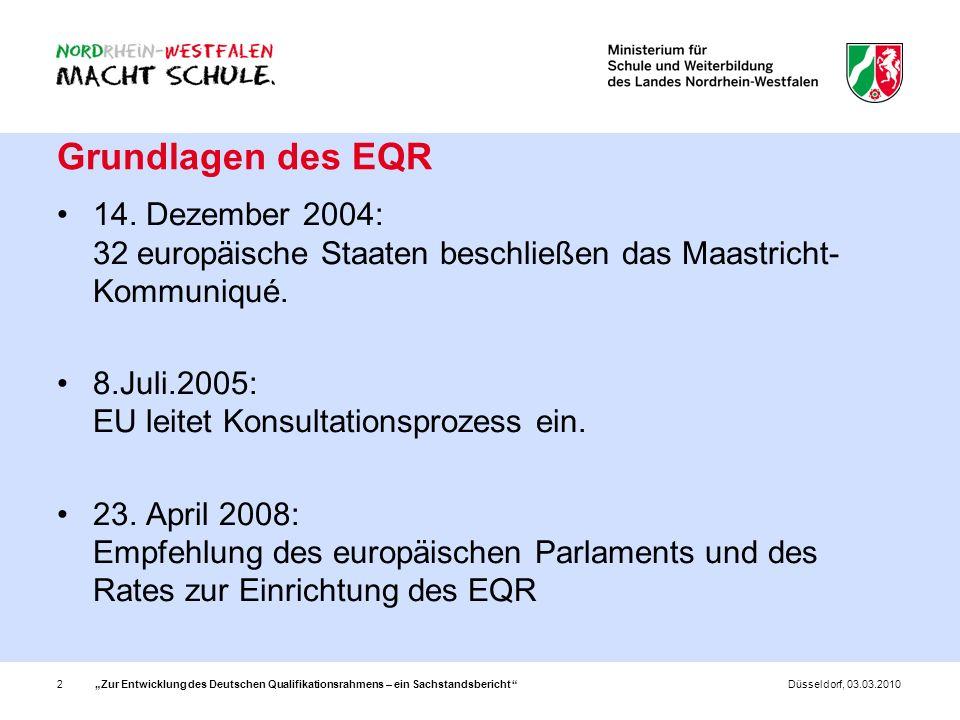 Zur Entwicklung des Deutschen Qualifikationsrahmens – ein Sachstandsbericht 2Düsseldorf, 03.03.2010 Grundlagen des EQR 14. Dezember 2004: 32 europäisc