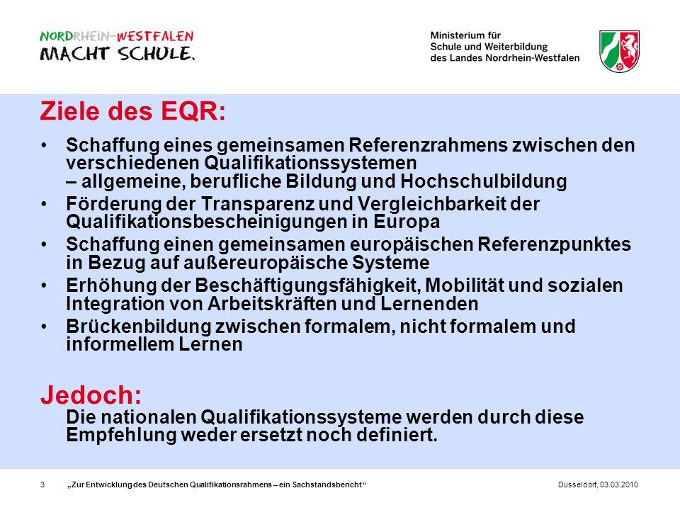 Zur Entwicklung des Deutschen Qualifikationsrahmens – ein Sachstandsbericht 3Düsseldorf, 03.03.2010 Ziele des EQR: Schaffung eines gemeinsamen Referen
