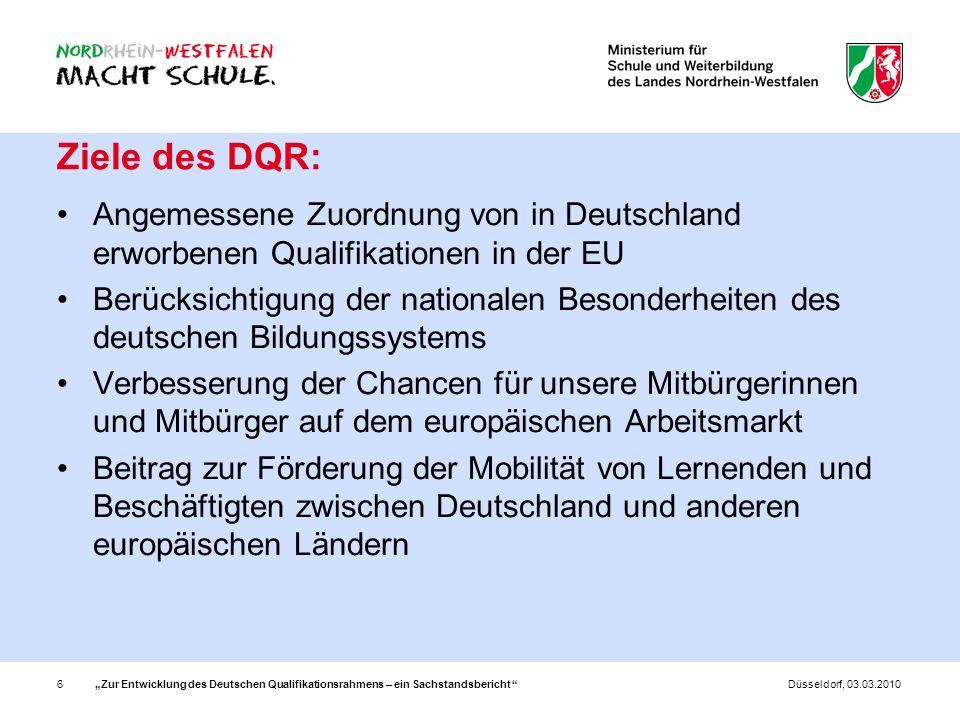 Zur Entwicklung des Deutschen Qualifikationsrahmens – ein Sachstandsbericht 6Düsseldorf, 03.03.2010 Ziele des DQR: Angemessene Zuordnung von in Deutsc