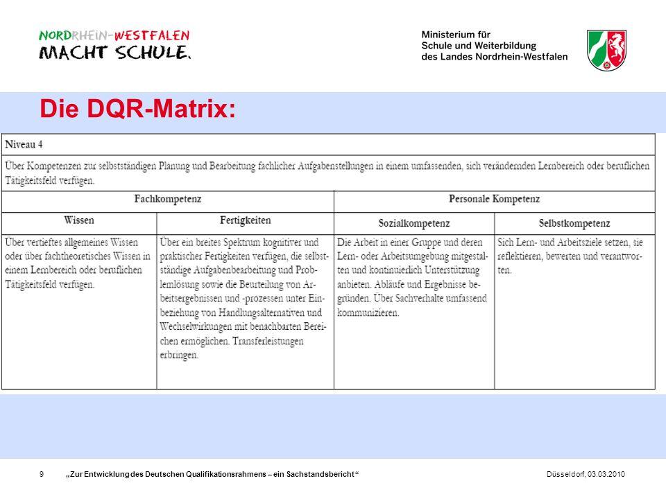 Zur Entwicklung des Deutschen Qualifikationsrahmens – ein Sachstandsbericht 9Düsseldorf, 03.03.2010 Die DQR-Matrix: