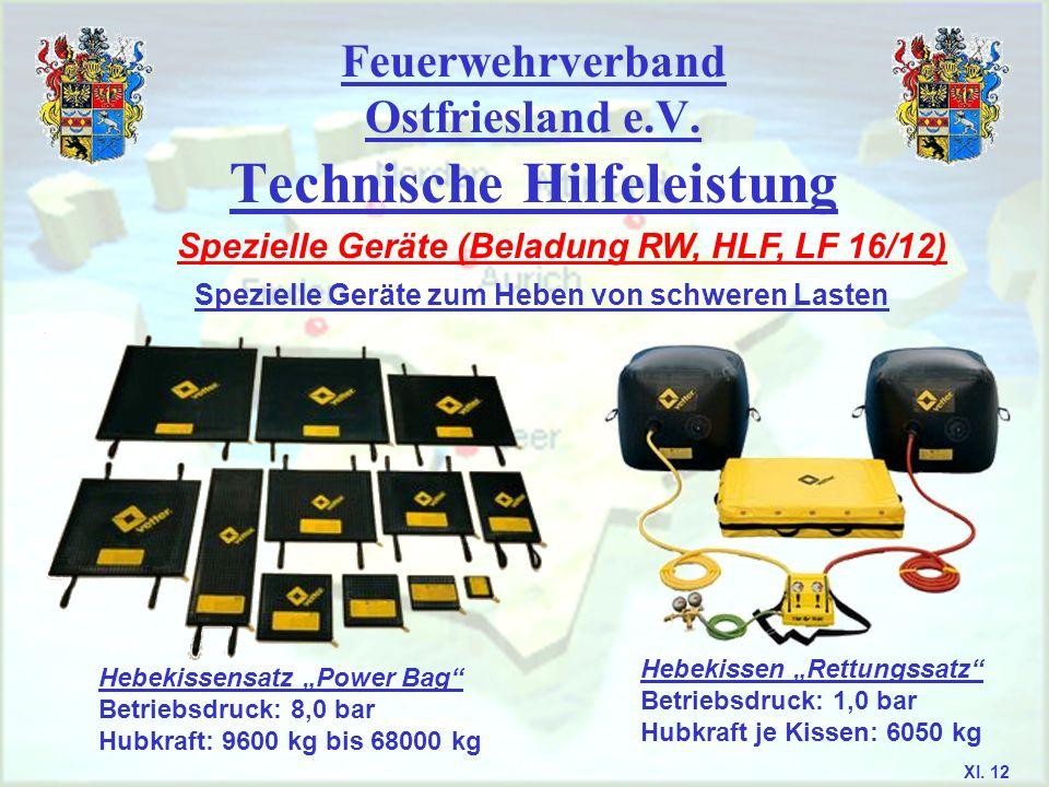 Feuerwehrverband Ostfriesland e.V. Technische Hilfeleistung Spezielle Geräte (Beladung RW, HLF, LF 16/12) Spezielle Geräte zum Heben von schweren Last