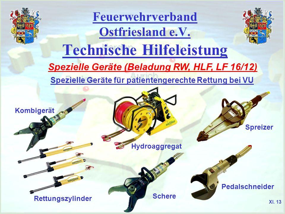 Feuerwehrverband Ostfriesland e.V. Technische Hilfeleistung Spezielle Geräte (Beladung RW, HLF, LF 16/12) Spezielle Geräte für patientengerechte Rettu