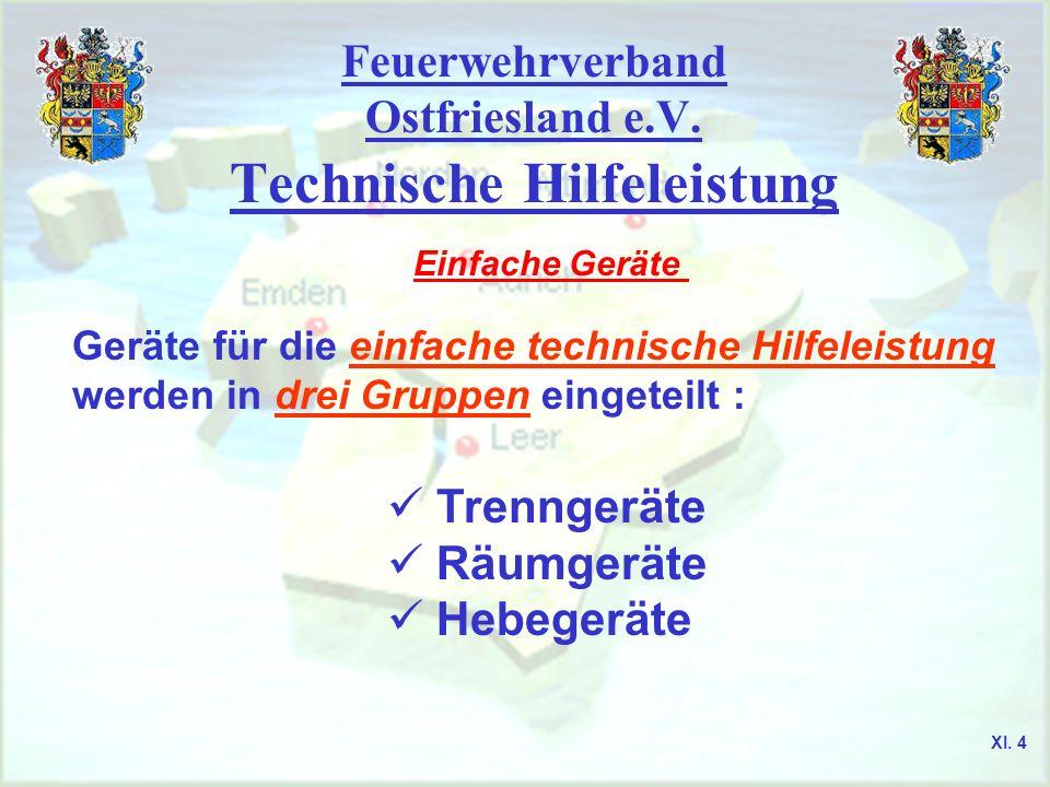 Feuerwehrverband Ostfriesland e.V. Technische Hilfeleistung Einfache Geräte Geräte für die einfache technische Hilfeleistung werden in drei Gruppen ei