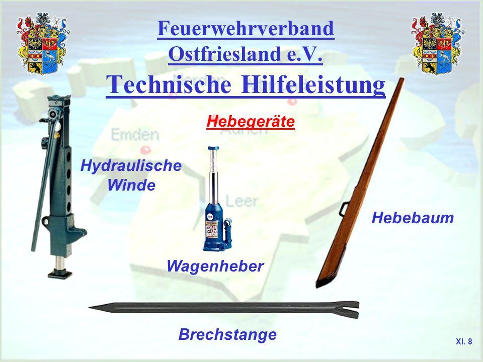 Feuerwehrverband Ostfriesland e.V. Technische Hilfeleistung Hebegeräte Hydraulische Winde Wagenheber Hebebaum Brechstange XI. 8