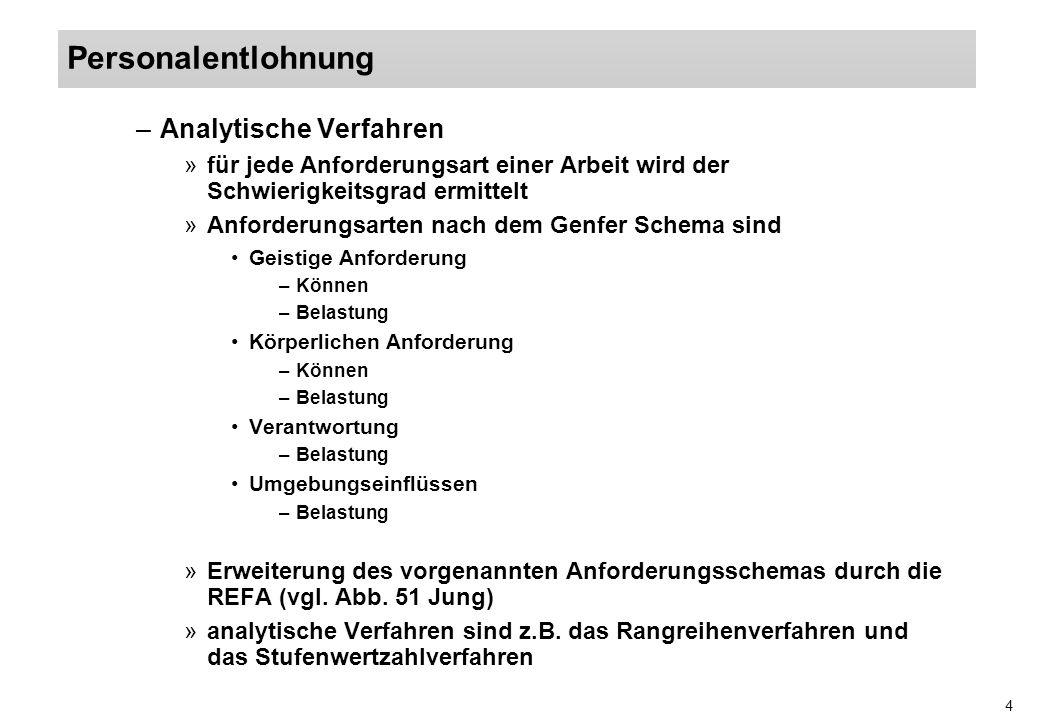 4 –Analytische Verfahren »für jede Anforderungsart einer Arbeit wird der Schwierigkeitsgrad ermittelt »Anforderungsarten nach dem Genfer Schema sind G