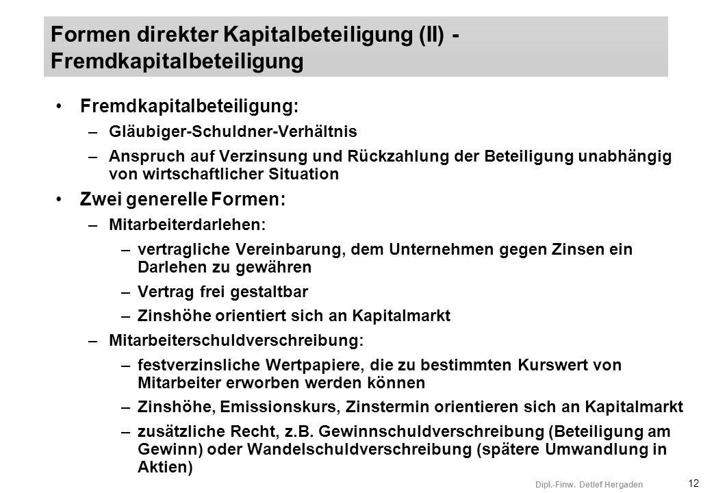12 Dipl.-Finw. Detlef Hergaden Fremdkapitalbeteiligung: –Gläubiger-Schuldner-Verhältnis –Anspruch auf Verzinsung und Rückzahlung der Beteiligung unabh