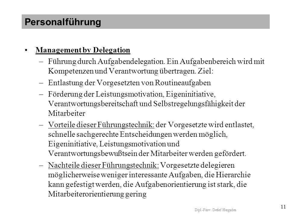 Dipl.-Finw.Detlef Hergaden 11 Management by Delegation –Führung durch Aufgabendelegation.