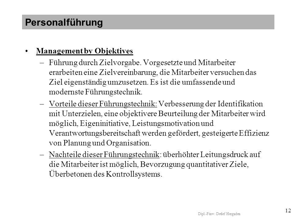Dipl.-Finw.Detlef Hergaden 12 Management by Objektives –Führung durch Zielvorgabe.
