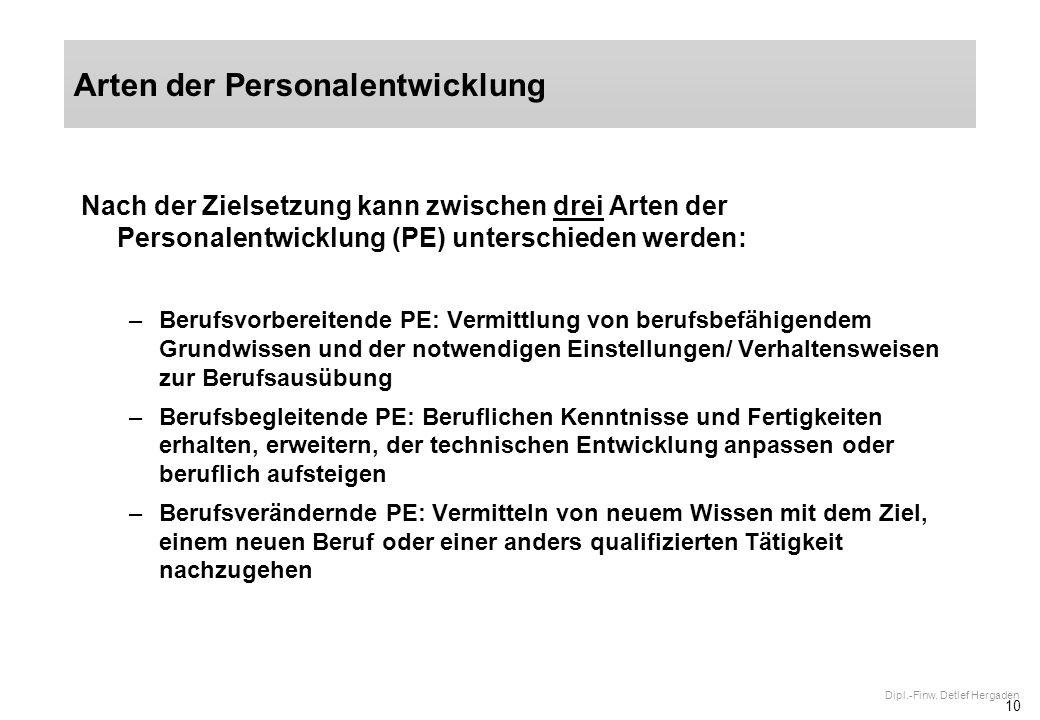10 Dipl.-Finw. Detlef Hergaden Nach der Zielsetzung kann zwischen drei Arten der Personalentwicklung (PE) unterschieden werden: –Berufsvorbereitende P